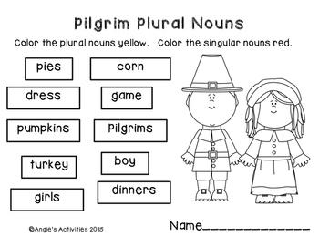 Pilgrim Plural Nouns Freebie
