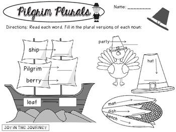 Pilgrim Plurals Noun Sorting Activities