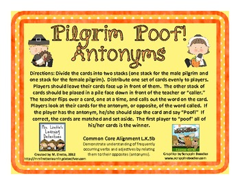 Pilgrim Poof! Antonyms {Common Core Aligned}