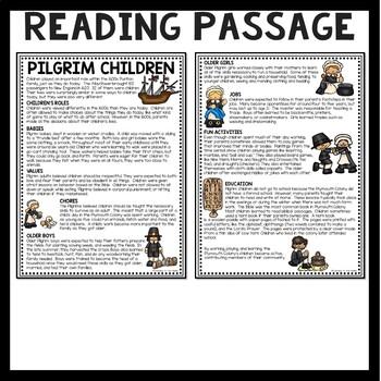 Pilgrim (Puritan) Children Reading Comprehension Worksheet