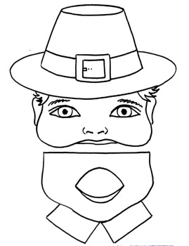 Pilgrim Reading and Writing Playlet Activity-2 Paper Bag Puppet Patterns