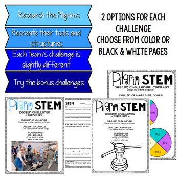 Pilgrim STEM Thanksgiving Challenges - Mayflower, Pilgrim House, and Capstan