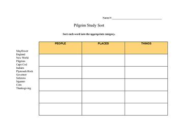 Pilgrim Study Word Sort