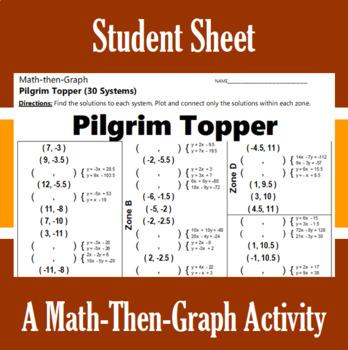 Pilgrim Topper - A Math-Then-Graph Activity - Solve 30 Systems
