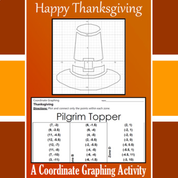 Thanksgiving - Pilgrim Topper - A Coordinate Graphing Activity
