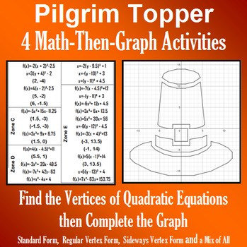 Pilgrim Topper - Finding Vertices - 4 Math-Then-Graph Activities