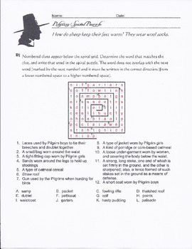 Pilgrim Vocabulary Puzzle Worksheets for Thanksgiving