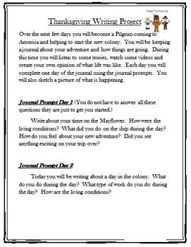 Pilgrim Writing-Thanksgiving