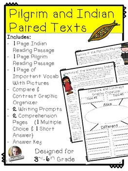 Pilgrim and Indian Thanksgiving Paired Text with extras