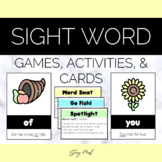 Pilgrim and Indian Thanksgiving Sight Word Cards