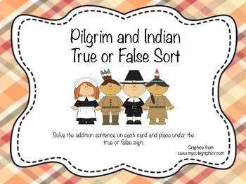 Pilgrim and Indian True or False Sort