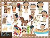 Pilgrims and Native Americans Clip Art Bundle