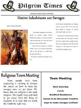 Pilgrim and Native American Newspaper