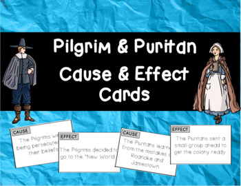 Pilgrim and Puritan Cause and Effect Matching Cards