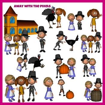 Pilgrim and Thanksgiving Clip Art For Teachers