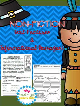 Pilgrim and Wampanoag Non-Fiction Text Features and Comprehension Passage