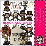 Pilgrims clip art - BLACK AND WHITE- by Melonheadz