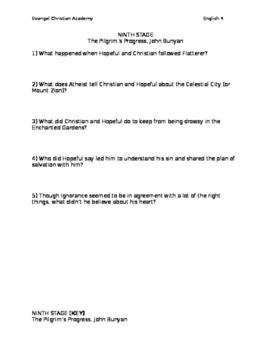 Pilgrim's Progress - 9th stage Quiz (with answer key)