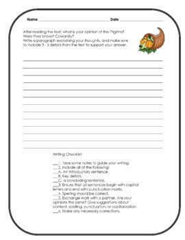 Thanksgiving Activity - Pilgrims Reading Comprehension Passage