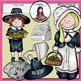 Pilgrims Clip Art- Color and B&W.