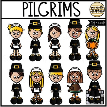 Pilgrims (Clip Art for Personal & Commercial Use)