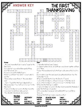 Pilgrims Crossword