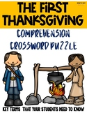 The First Thanksgiving and Pilgrims Crossword Puzzle for Comprehension