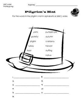 Pilgrim's Hat - Thanksgiving ABC order