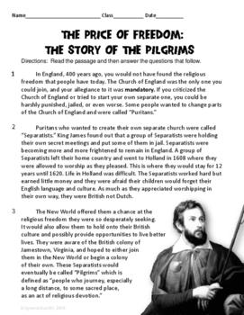 Pilgrims Informational Text ELA Test Prep Reading Passage