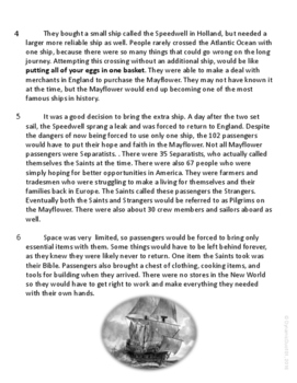 Pilgrims Informational Text ELA Test Prep Reading Passage