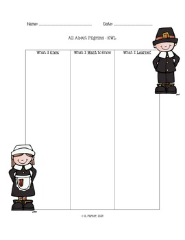 Pilgrims KWL Chart