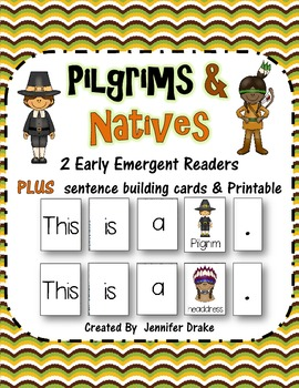 Pilgrims & Native Americans! 2 Early Emergent Reader PLUS Picture & Word Cards