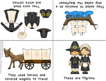 Pilgrims & Native Americans Foldable Readers ~5 Books & Printables~ Color & B&W