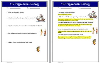 Pilgrims Native Americans Thanksgiving Lesson Activities and Key