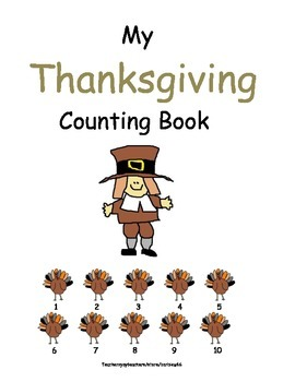 Pilgrims Natives Turkey Feast Counting Book or Practice Pages Common Core