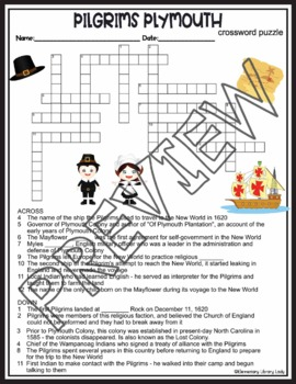 Pilgrims Activities Plymouth Crossword Puzzle and Word Search Find