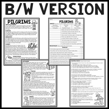 Pilgrims (Puritans) of Plymouth Colony Reading Comprehension Worksheet