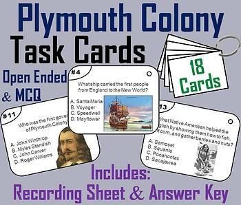 Pilgrims Task Cards/ Plymouth Colony Task Cards: Mayflower