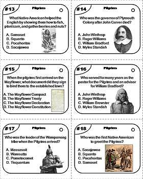 Pilgrims Task Cards/ Plymouth Colony Task Cards: Mayflower Compact, Squanto etc.
