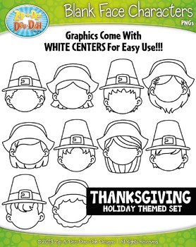 Pilgrims Thanksgiving Blank Face Characters Clipart Set —