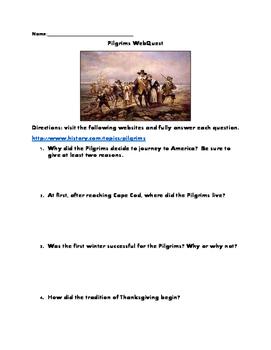 Pilgrims WebQuest (with answer key)