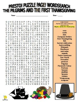 Pilgrims and First Thanksgiving Puzzle Page (Wordsearch & Criss-Cross)
