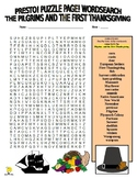 Pilgrims and First Thanksgiving Puzzle Page (Wordsearch &