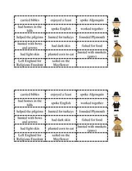 Pilgrims and Indians Venn Diagram Sorting Activity (2 per page)