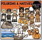 Pilgrims and Natives Clip Art Bundle {Educlips Clipart}