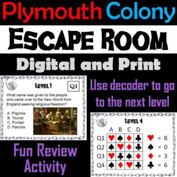 Pilgrims and Plymouth Colony Escape Room - Social Studies