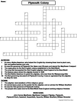 Pilgrims and Plymouth Colony Worksheet/ Crossword Puzzle
