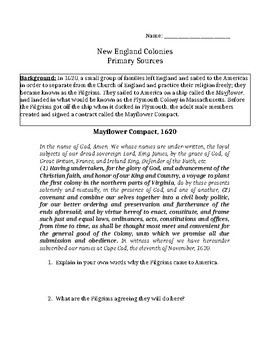 Pilgrims and Puritans Primary Sources