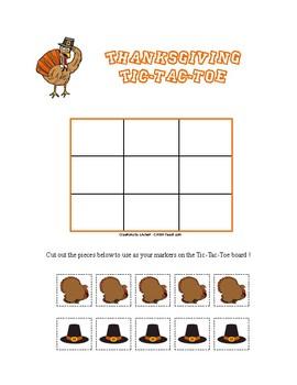 Pilgrims and Turkeys Tic-Tac-Toe (Thanksgiving Games)