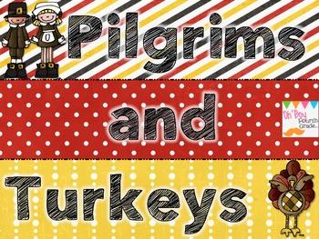 Pilgrims and Turkeys aThanksgiving MATH game for older kids...